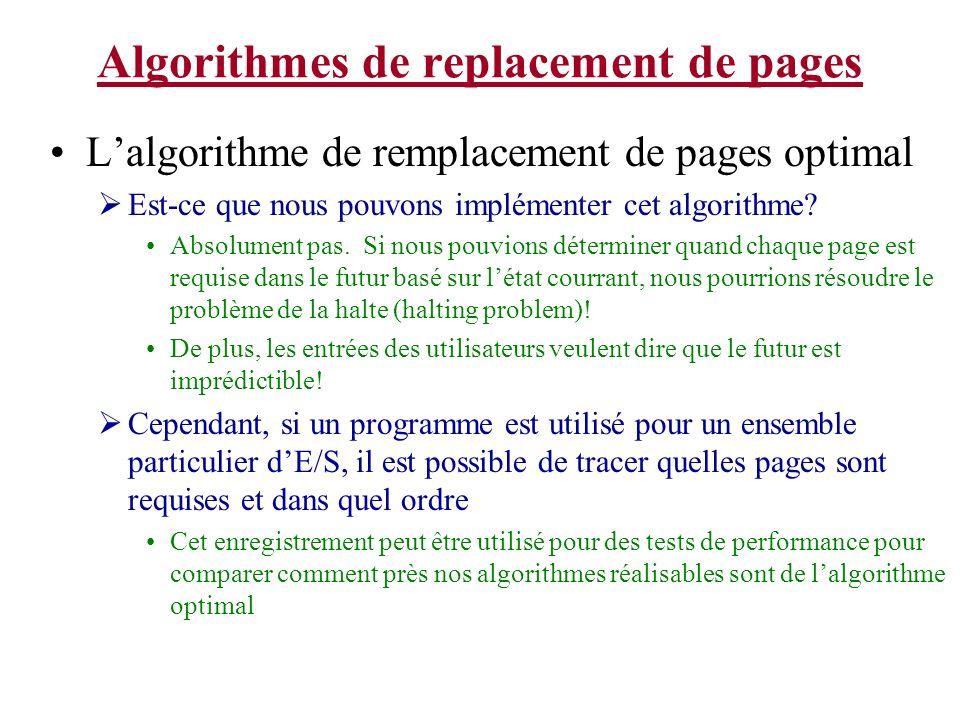 Algorithmes de replacement de pages Lalgorithme de remplacement de pages optimal Est-ce que nous pouvons implémenter cet algorithme? Absolument pas. S