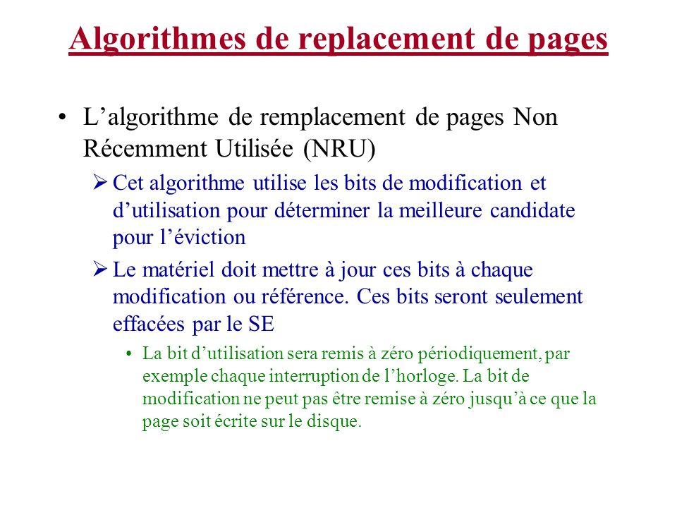 Algorithmes de replacement de pages Lalgorithme de remplacement de pages Non Récemment Utilisée (NRU) Cet algorithme utilise les bits de modification