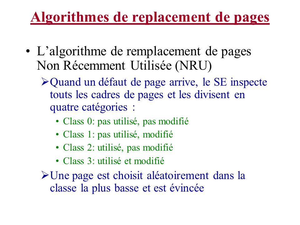 Algorithmes de replacement de pages Lalgorithme de remplacement de pages Non Récemment Utilisée (NRU) Quand un défaut de page arrive, le SE inspecte t