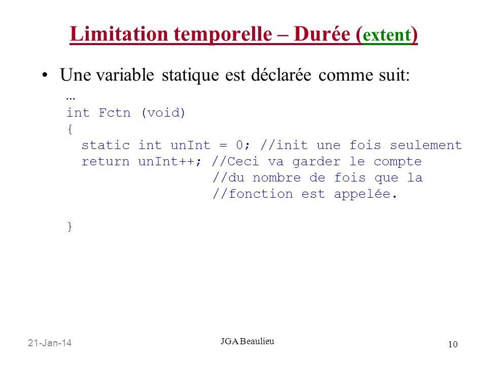 21-Jan-14 10 JGA Beaulieu Limitation temporelle – Durée ( extent ) Une variable statique est déclarée comme suit: … int Fctn (void) { static int unInt