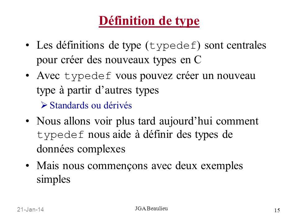 21-Jan-14 15 JGA Beaulieu Définition de type Les définitions de type ( typedef ) sont centrales pour créer des nouveaux types en C Avec typedef vous p