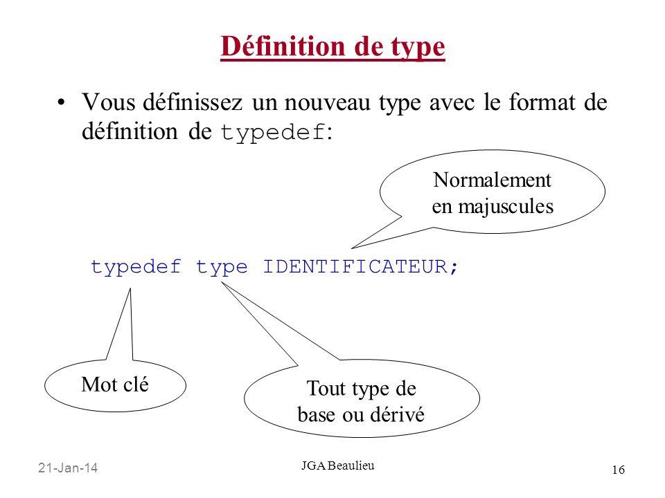21-Jan-14 16 JGA Beaulieu Définition de type Vous définissez un nouveau type avec le format de définition de typedef : typedef type IDENTIFICATEUR; Mo