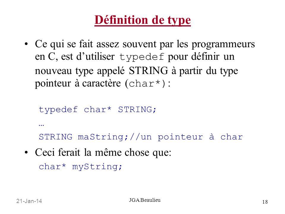 21-Jan-14 18 JGA Beaulieu Définition de type Ce qui se fait assez souvent par les programmeurs en C, est dutiliser typedef pour définir un nouveau typ