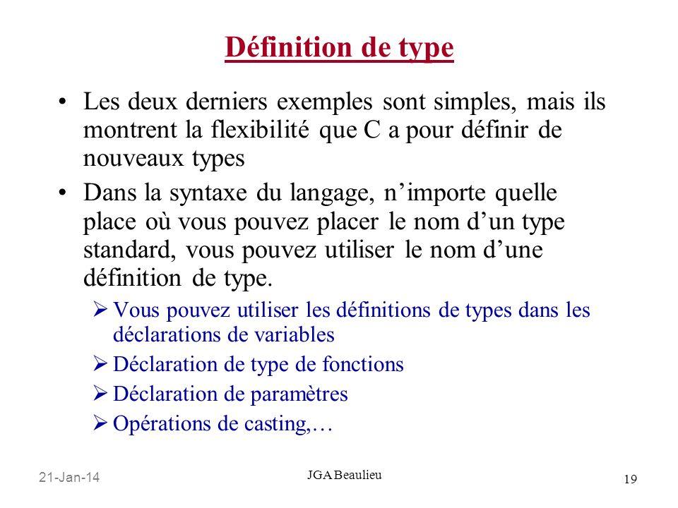 21-Jan-14 19 JGA Beaulieu Définition de type Les deux derniers exemples sont simples, mais ils montrent la flexibilité que C a pour définir de nouveau