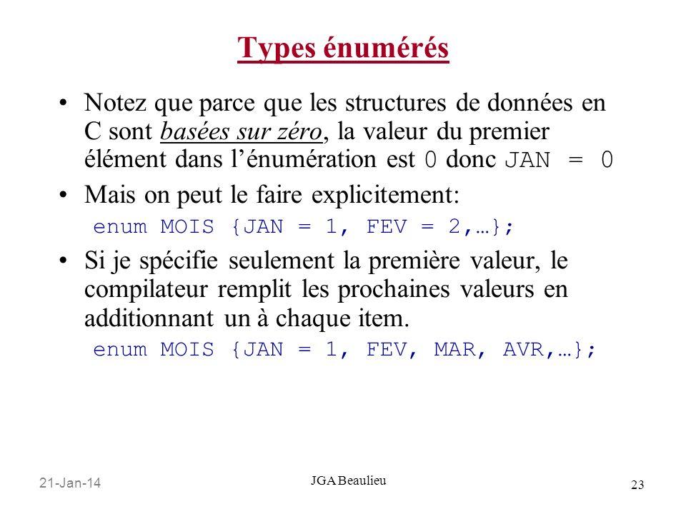 21-Jan-14 23 JGA Beaulieu Types énumérés Notez que parce que les structures de données en C sont basées sur zéro, la valeur du premier élément dans lé