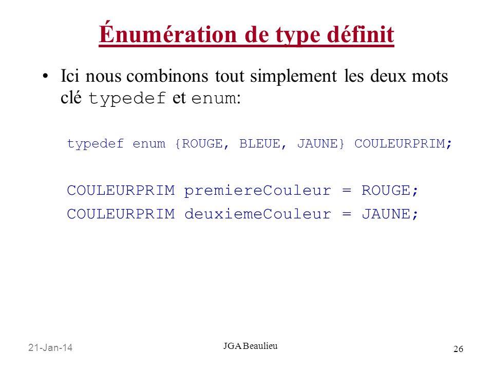 21-Jan-14 26 JGA Beaulieu Énumération de type définit Ici nous combinons tout simplement les deux mots clé typedef et enum : typedef enum {ROUGE, BLEU