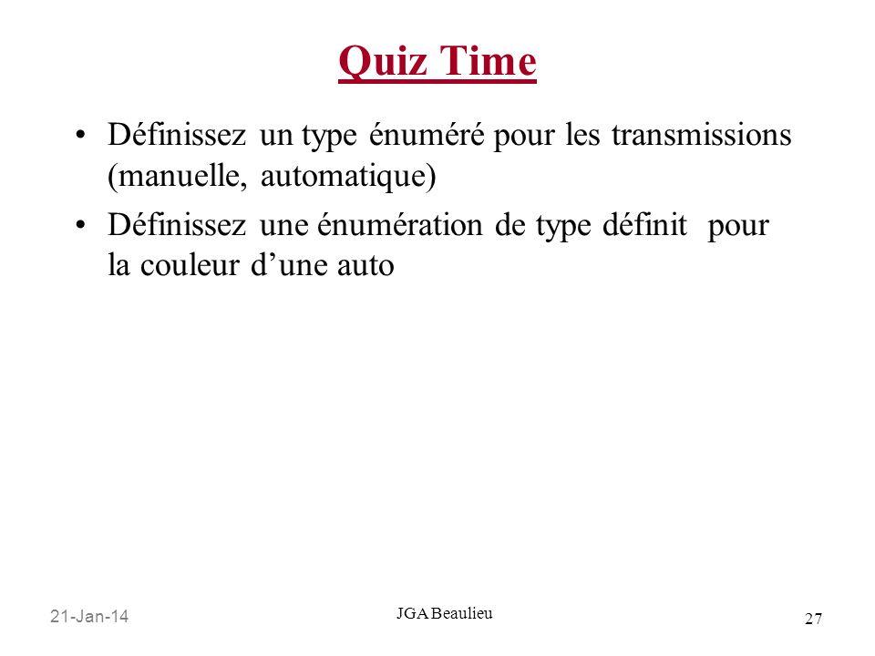 21-Jan-14 27 JGA Beaulieu Quiz Time Définissez un type énuméré pour les transmissions (manuelle, automatique) Définissez une énumération de type défin