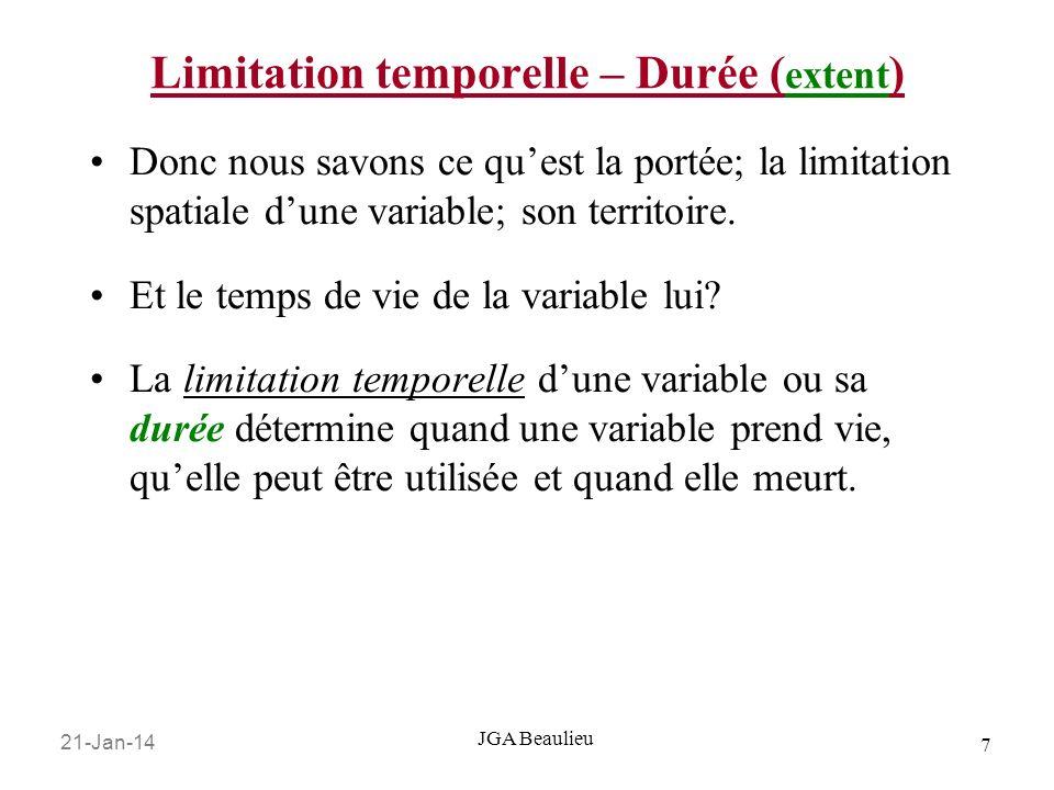21-Jan-14 7 JGA Beaulieu Limitation temporelle – Durée ( extent ) Donc nous savons ce quest la portée; la limitation spatiale dune variable; son terri