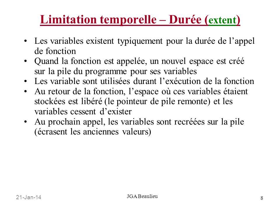 21-Jan-14 19 JGA Beaulieu Définition de type Les deux derniers exemples sont simples, mais ils montrent la flexibilité que C a pour définir de nouveaux types Dans la syntaxe du langage, nimporte quelle place où vous pouvez placer le nom dun type standard, vous pouvez utiliser le nom dune définition de type.