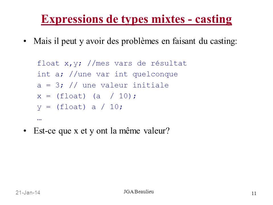 21-Jan-14 11 JGA Beaulieu Expressions de types mixtes - casting Mais il peut y avoir des problèmes en faisant du casting: float x,y; //mes vars de résultat int a; //une var int quelconque a = 3; // une valeur initiale x = (float) (a / 10); y = (float) a / 10; … Est-ce que x et y ont la même valeur