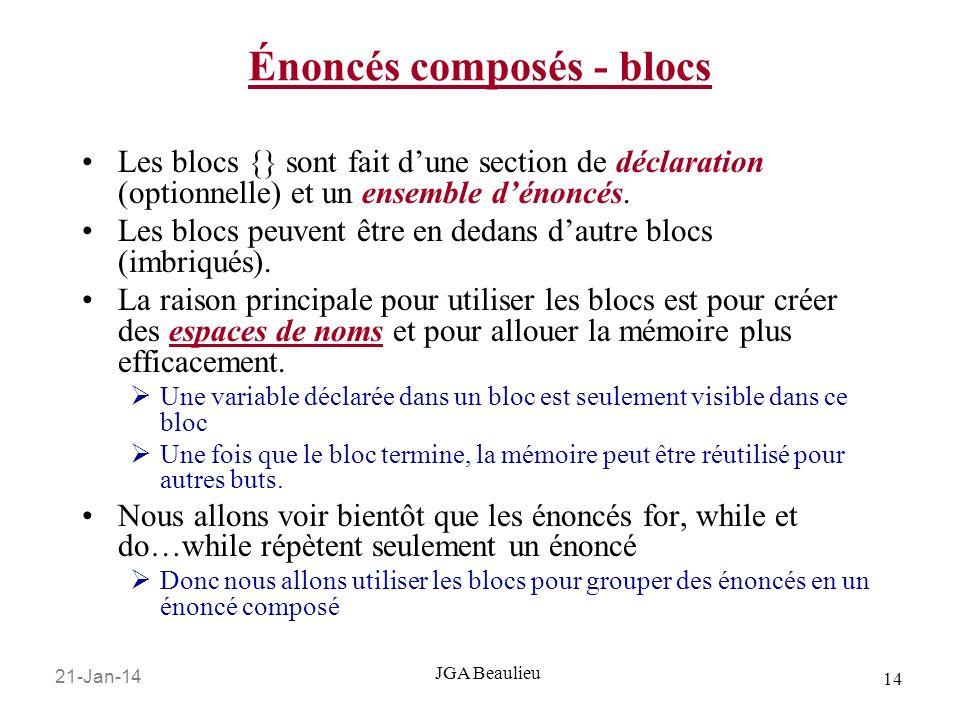 21-Jan-14 14 JGA Beaulieu Énoncés composés - blocs Les blocs {} sont fait dune section de déclaration (optionnelle) et un ensemble dénoncés.
