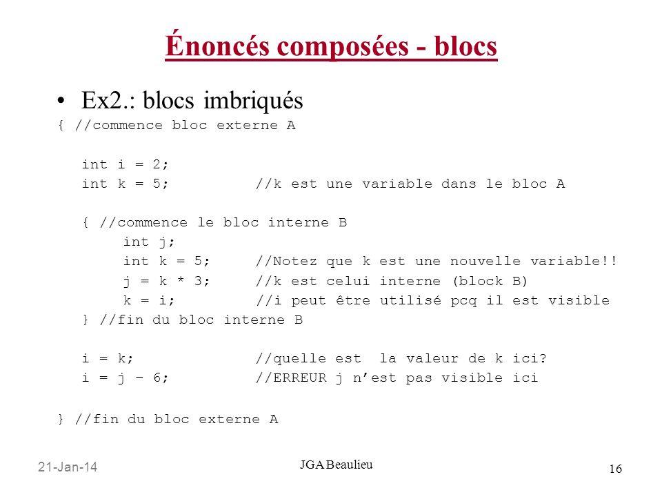 21-Jan-14 16 JGA Beaulieu Énoncés composées - blocs Ex2.: blocs imbriqués { //commence bloc externe A int i = 2; int k = 5;//k est une variable dans le bloc A { //commence le bloc interne B int j; int k = 5; //Notez que k est une nouvelle variable!.