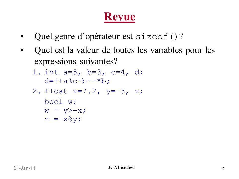 21-Jan-14 2 JGA Beaulieu Revue Quel genre dopérateur est sizeof() .