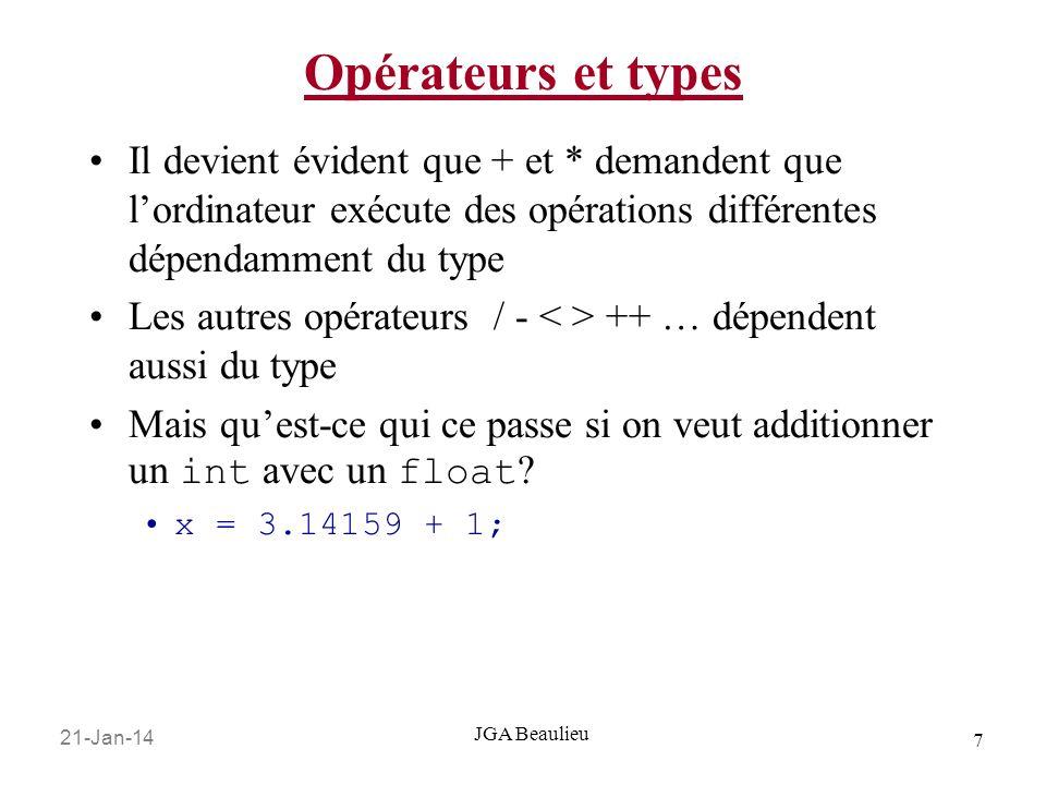 21-Jan-14 7 JGA Beaulieu Opérateurs et types Il devient évident que + et * demandent que lordinateur exécute des opérations différentes dépendamment du type Les autres opérateurs / - ++ … dépendent aussi du type Mais quest-ce qui ce passe si on veut additionner un int avec un float .