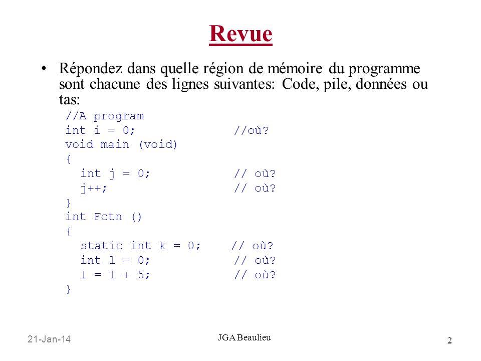 21-Jan-14 3 JGA Beaulieu Synopsis Pointeurs aux fonctions Allocation dynamique de la mémoire 1.malloc() 2.calloc() 3.free() Tableaux de pointeurs