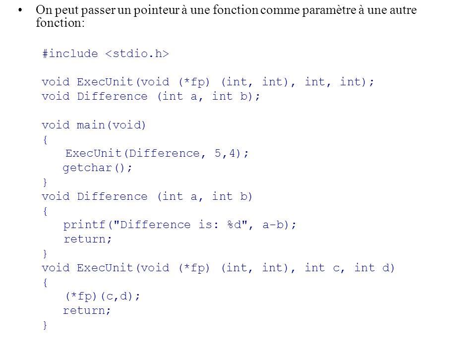 On peut passer un pointeur à une fonction comme paramètre à une autre fonction: #include void ExecUnit(void (*fp) (int, int), int, int); void Differen