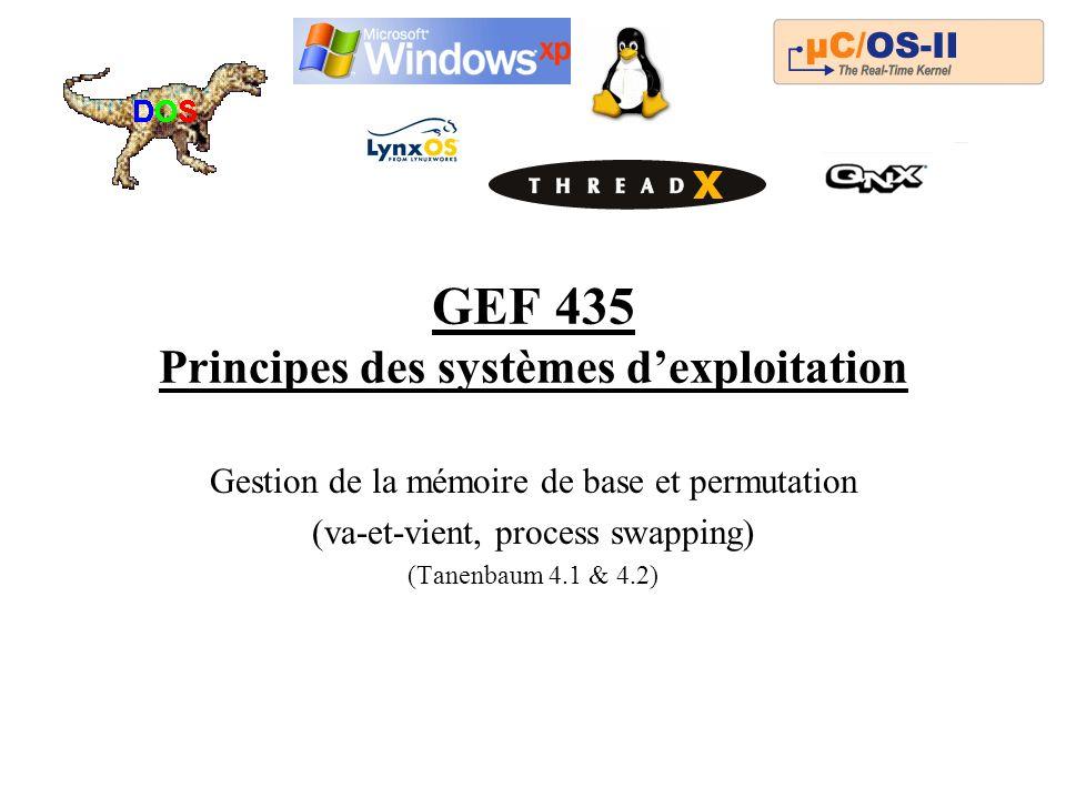 GEF 435 Principes des systèmes dexploitation Gestion de la mémoire de base et permutation (va-et-vient, process swapping) (Tanenbaum 4.1 & 4.2)