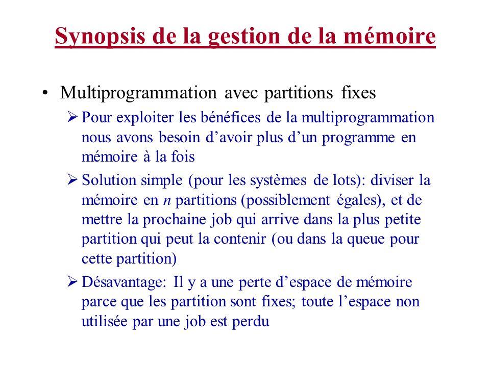Synopsis de la gestion de la mémoire Multiprogrammation avec partitions fixes Pour exploiter les bénéfices de la multiprogrammation nous avons besoin