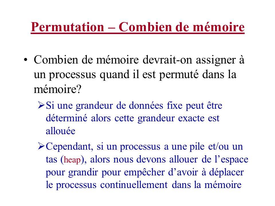 Permutation – Combien de mémoire Combien de mémoire devrait-on assigner à un processus quand il est permuté dans la mémoire? Si une grandeur de donnée