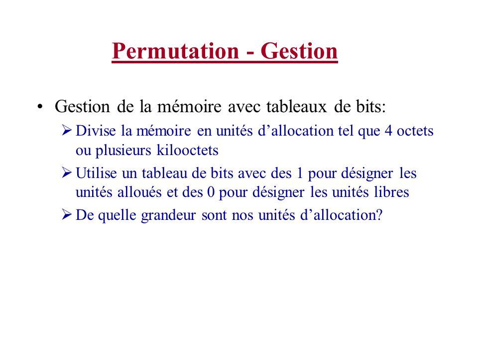 Permutation - Gestion Gestion de la mémoire avec tableaux de bits: Divise la mémoire en unités dallocation tel que 4 octets ou plusieurs kilooctets Ut