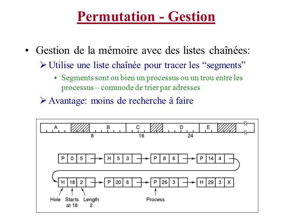 Permutation - Gestion Gestion de la mémoire avec des listes chaînées: Utilise une liste chaînée pour tracer les segments Segments sont ou bien un proc