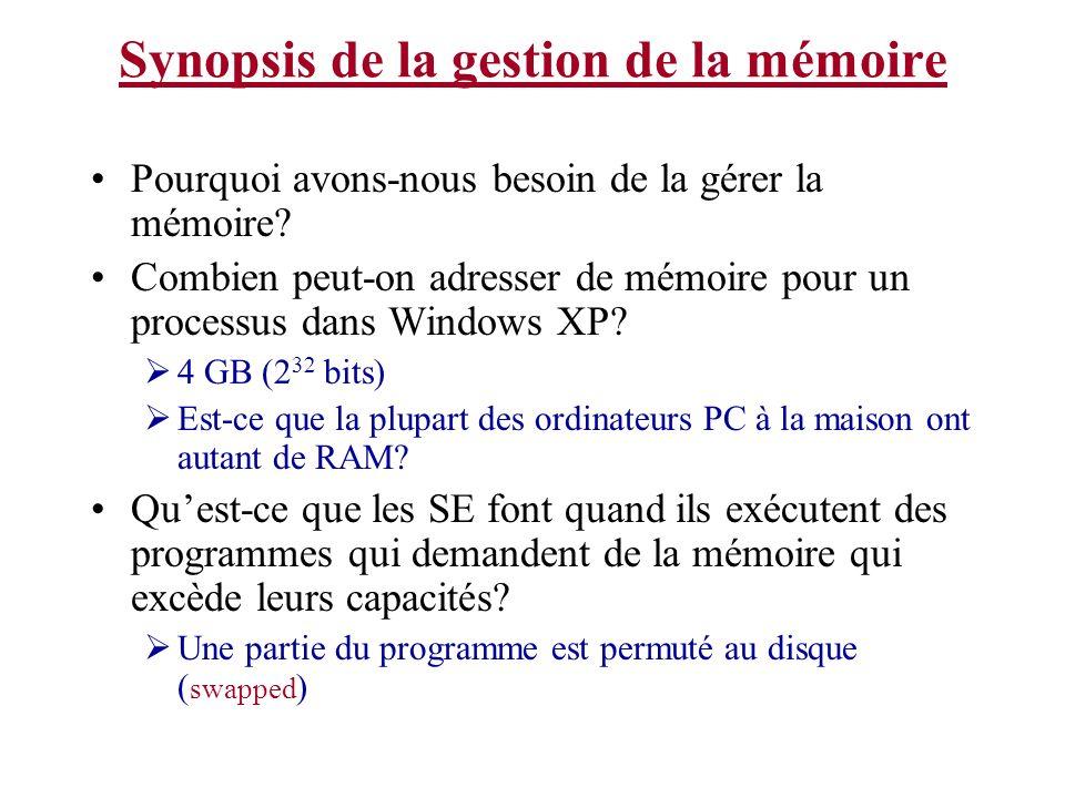 Synopsis de la gestion de la mémoire On a besoin de quelque chose pour gérer le mouvement des programmes entre le(s) disque(s) et la mémoire (ou en général: pour gérer la hiérarchie de mémoire).