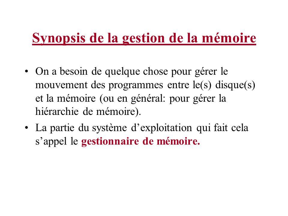 Synopsis de la gestion de la mémoire On a besoin de quelque chose pour gérer le mouvement des programmes entre le(s) disque(s) et la mémoire (ou en gé