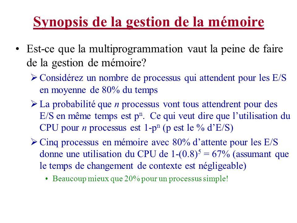 Synopsis de la gestion de la mémoire Est-ce que la multiprogrammation vaut la peine de faire de la gestion de mémoire? Considérez un nombre de process