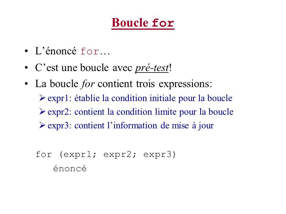 Boucle for Lénoncé for … Cest une boucle avec pré-test! La boucle for contient trois expressions: expr1: établie la condition initiale pour la boucle