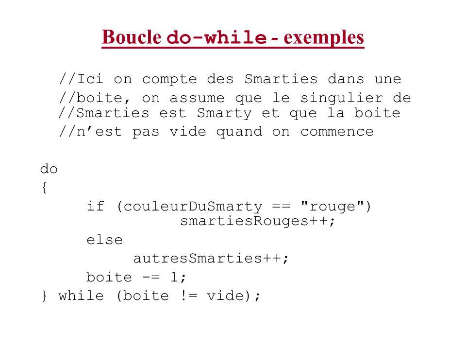 Boucle do-while - exemples //Ici on compte des Smarties dans une //boite, on assume que le singulier de //Smarties est Smarty et que la boite //nest p