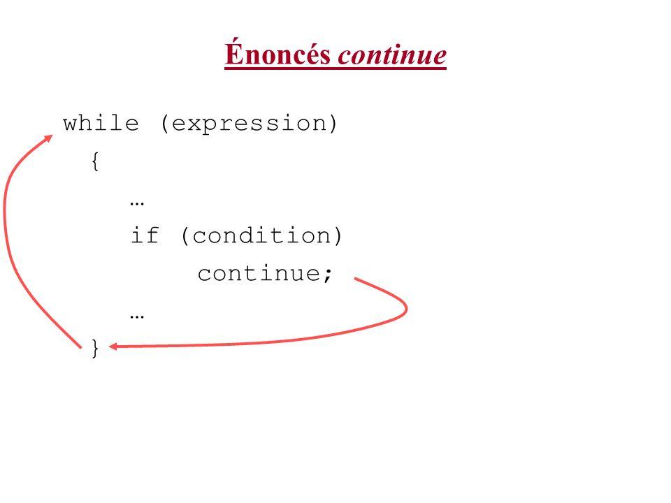 Énoncés continue while (expression) { … if (condition) continue; … }