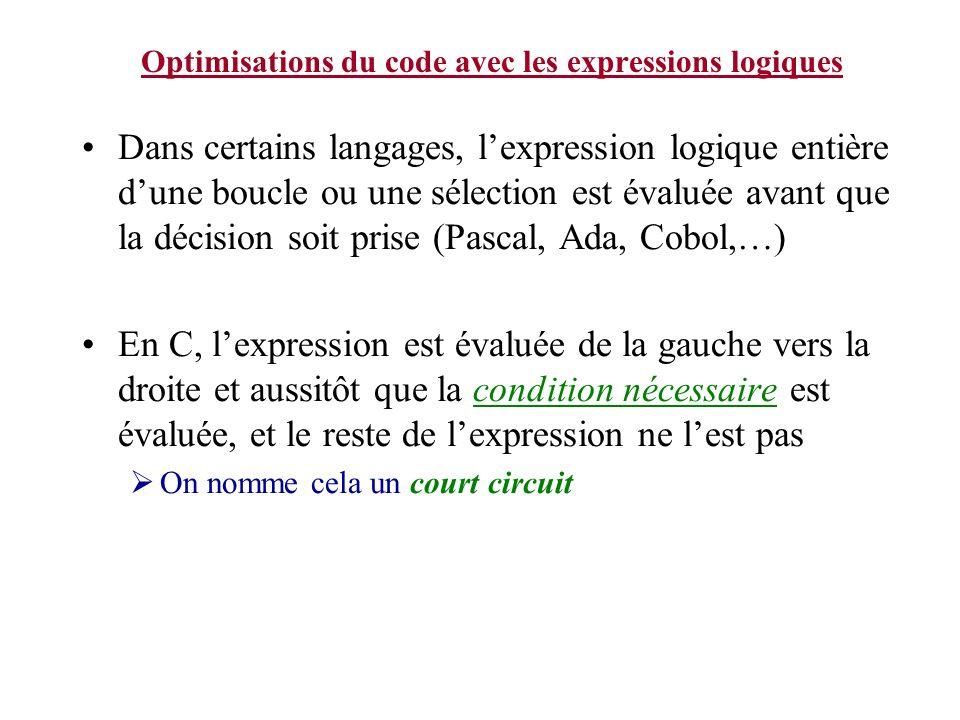 Optimisations du code avec les expressions logiques Dans certains langages, lexpression logique entière dune boucle ou une sélection est évaluée avant