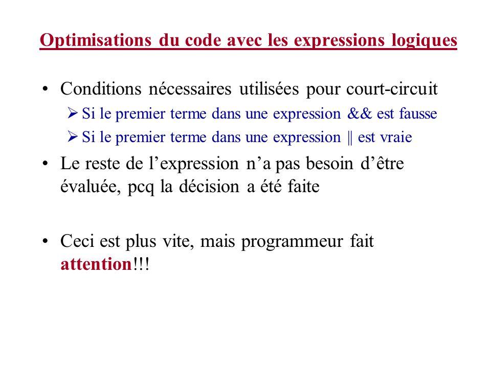 Optimisations du code avec les expressions logiques Conditions nécessaires utilisées pour court-circuit Si le premier terme dans une expression && est