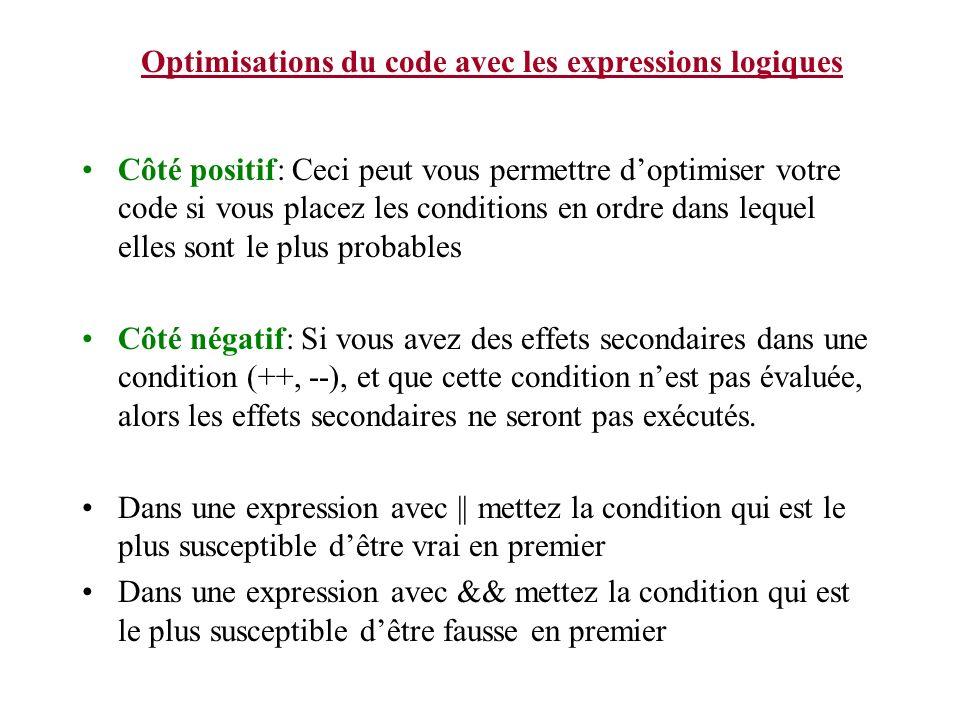 Optimisations du code avec les expressions logiques Côté positif: Ceci peut vous permettre doptimiser votre code si vous placez les conditions en ordr