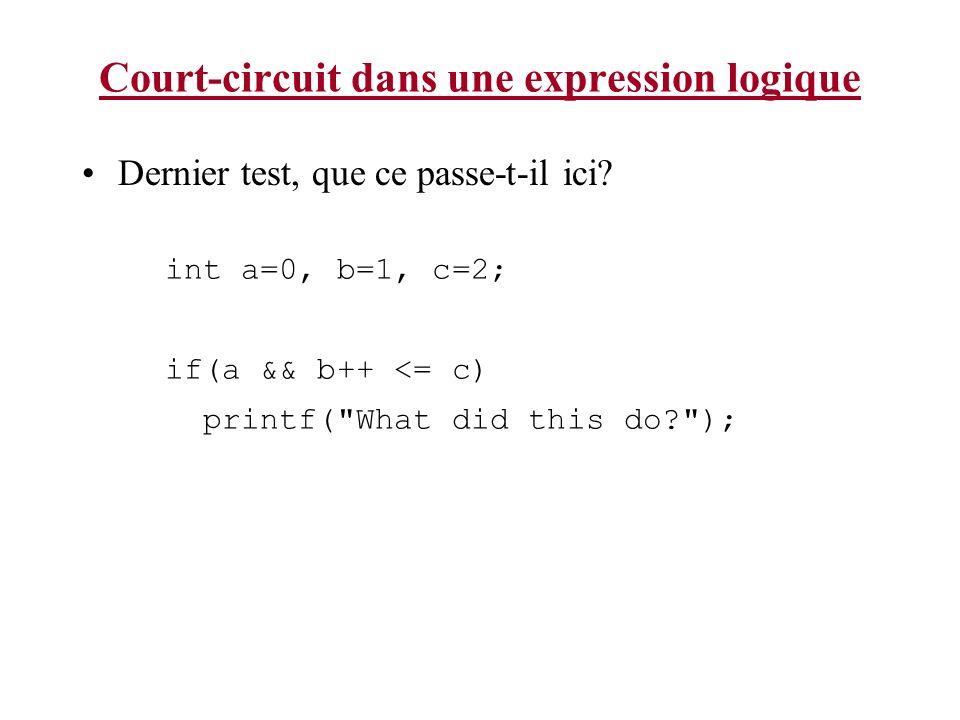 Court-circuit dans une expression logique Dernier test, que ce passe-t-il ici? int a=0, b=1, c=2; if(a && b++ <= c) printf(