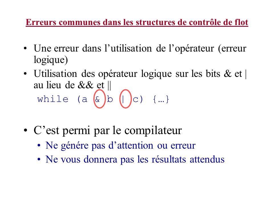 Erreurs communes dans les structures de contrôle de flot Une erreur dans lutilisation de lopérateur (erreur logique) Utilisation des opérateur logique