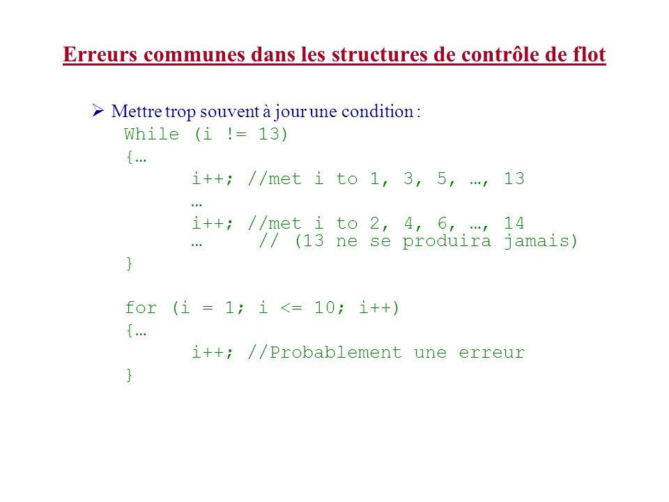Erreurs communes dans les structures de contrôle de flot Mettre trop souvent à jour une condition : While (i != 13) {… i++; //met i to 1, 3, 5, …, 13