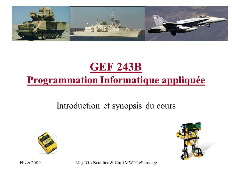 Hiver 2009Maj JGA Beaulieu & Capt MWP LeSauvage GEF 243B Programmation Informatique appliquée Introduction et synopsis du cours