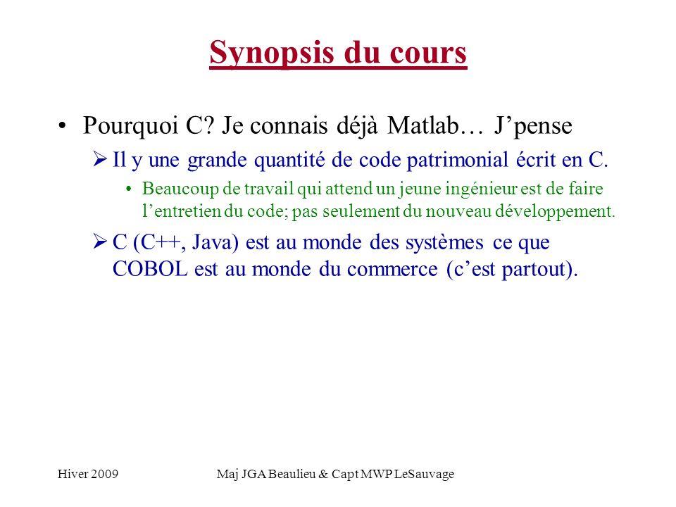 Hiver 2009Maj JGA Beaulieu & Capt MWP LeSauvage Synopsis du cours Pourquoi C.