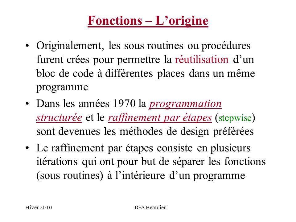 Hiver 2010JGA Beaulieu Fonctions – Lorigine Originalement, les sous routines ou procédures furent crées pour permettre la réutilisation dun bloc de co