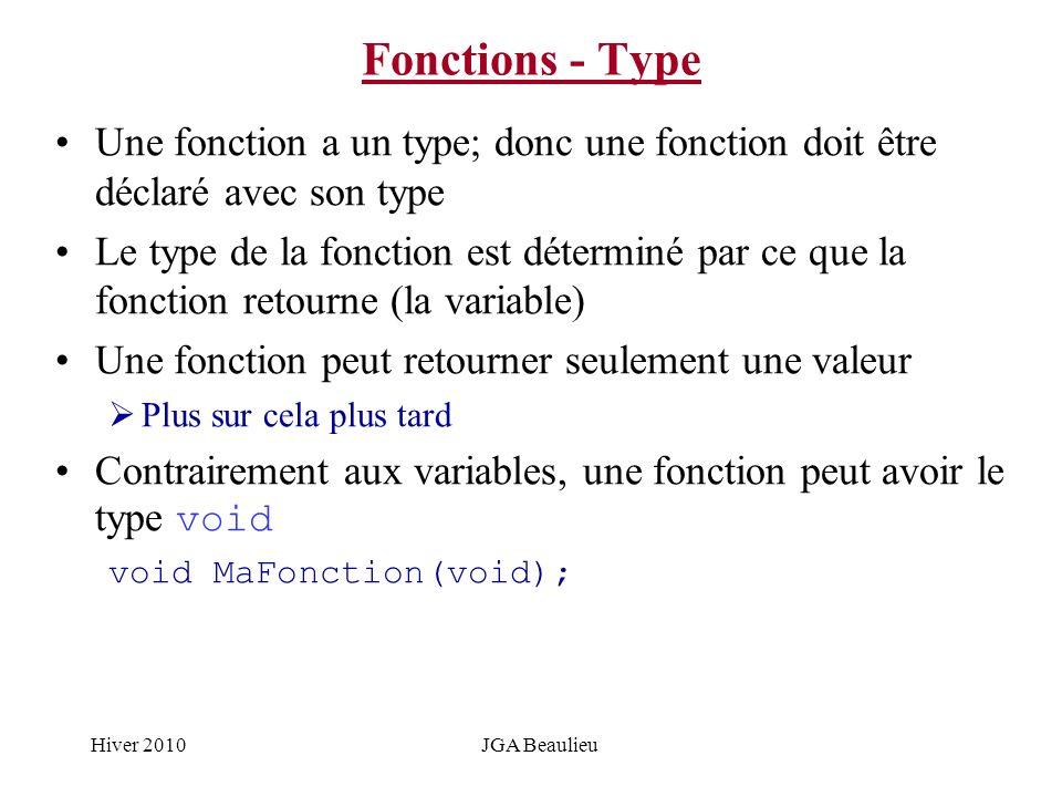 Hiver 2010JGA Beaulieu Fonctions - Type Une fonction a un type; donc une fonction doit être déclaré avec son type Le type de la fonction est déterminé