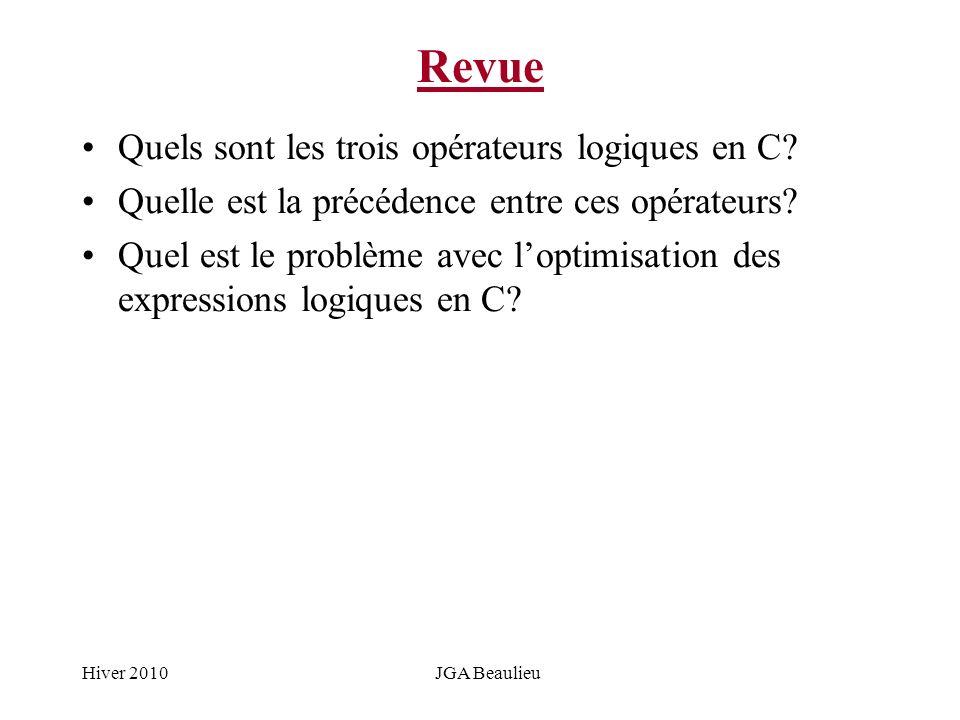 Hiver 2010JGA Beaulieu Revue Quels sont les trois opérateurs logiques en C? Quelle est la précédence entre ces opérateurs? Quel est le problème avec l
