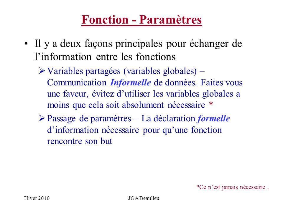 Hiver 2010JGA Beaulieu Fonction - Paramètres Il y a deux façons principales pour échanger de linformation entre les fonctions Variables partagées (var