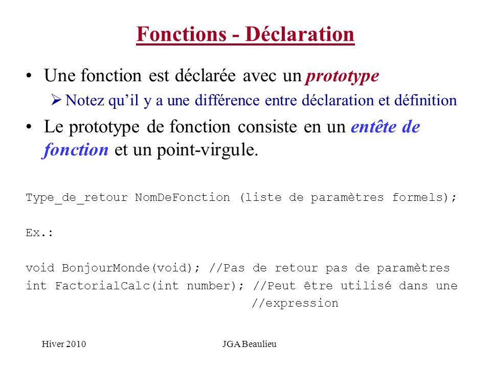 Hiver 2010JGA Beaulieu Fonctions - Déclaration Une fonction est déclarée avec un prototype Notez quil y a une différence entre déclaration et définiti