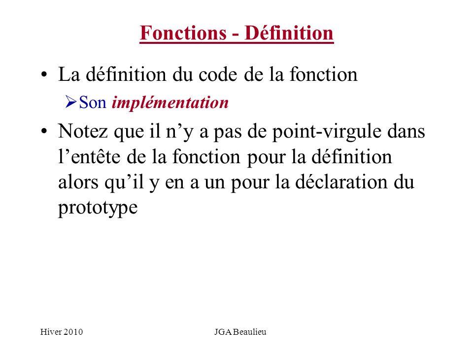 Hiver 2010JGA Beaulieu Fonctions - Définition La définition du code de la fonction Son implémentation Notez que il ny a pas de point-virgule dans lent