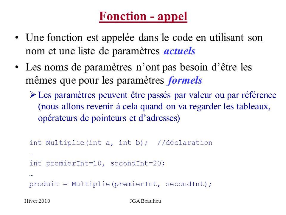 Hiver 2010JGA Beaulieu Fonction - appel Une fonction est appelée dans le code en utilisant son nom et une liste de paramètres actuels Les noms de para