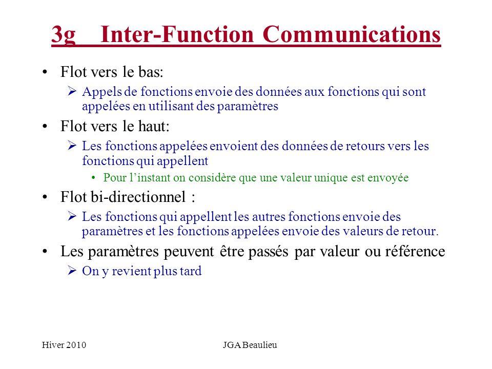 Hiver 2010JGA Beaulieu 3gInter-Function Communications Flot vers le bas: Appels de fonctions envoie des données aux fonctions qui sont appelées en uti