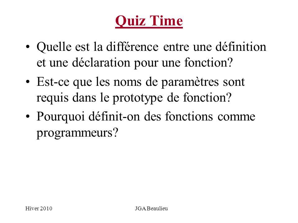 Hiver 2010JGA Beaulieu Quiz Time Quelle est la différence entre une définition et une déclaration pour une fonction? Est-ce que les noms de paramètres