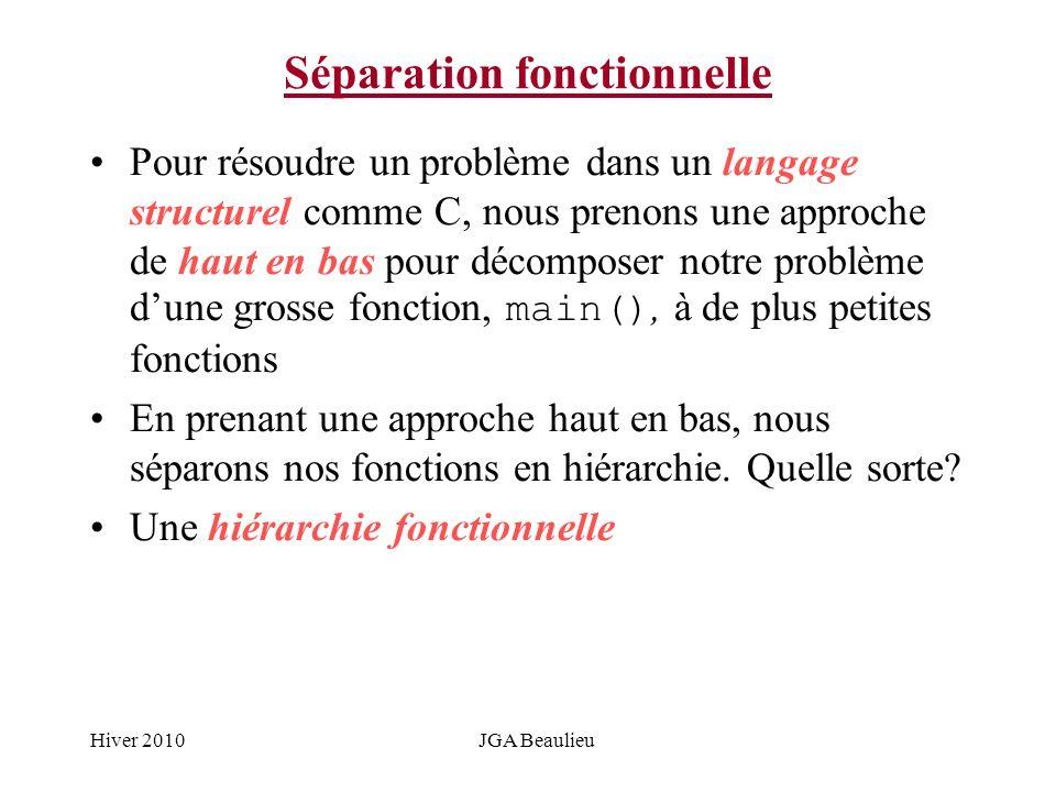 Hiver 2010JGA Beaulieu Séparation fonctionnelle Pour résoudre un problème dans un langage structurel comme C, nous prenons une approche de haut en bas