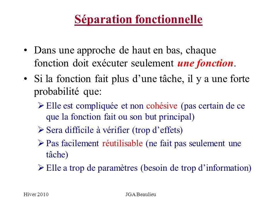 Hiver 2010JGA Beaulieu Séparation fonctionnelle Dans une approche de haut en bas, chaque fonction doit exécuter seulement une fonction. Si la fonction